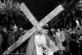 Ref CHRISTUS 7 – Christ carrying his cross during the religious procession celebrating Easter in Barrafranca, Sicily, Italy
