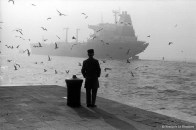Ref VENICE 18 – Man watching the departure of an oil tanker